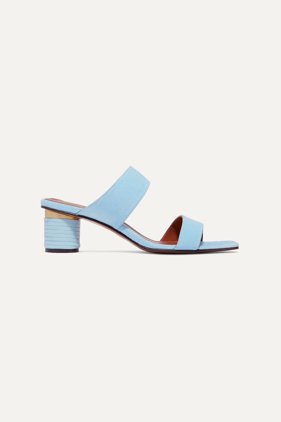Souliers Martinez Gibraltar leather-trimmed suede mules