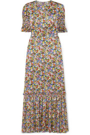 The Vampire's Wife Susie ruffled floral-print silk-satin maxi dress