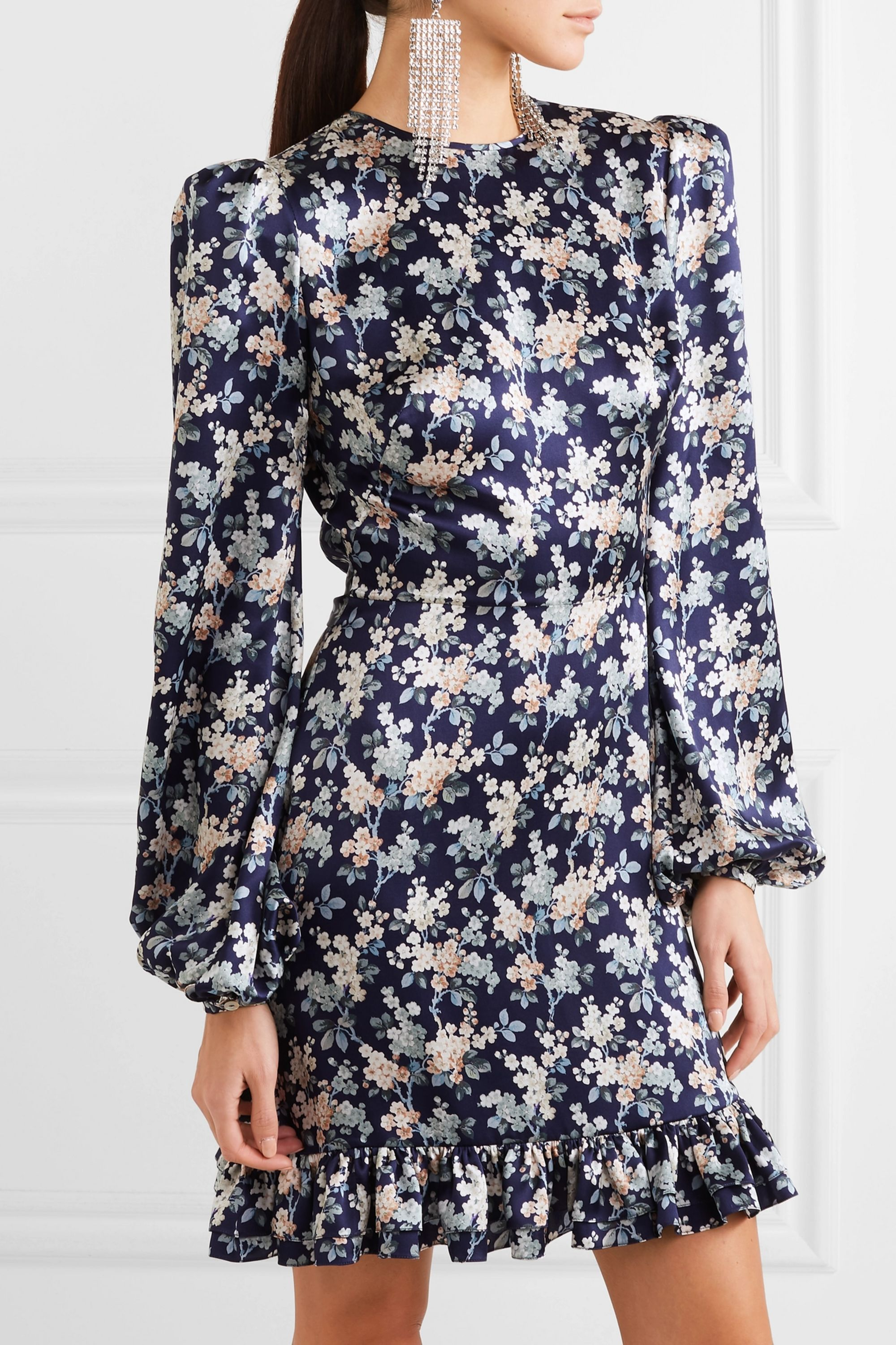 The Vampire's Wife Belle belted ruffled floral-print silk-satin dress