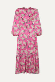 The Vampire's Wife Belle pleated floral-print silk-satin maxi dress