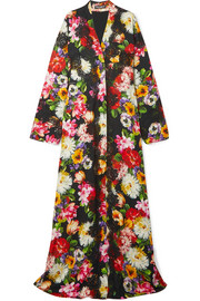 Dolce & Gabbana Lace-trimmed floral-print silk-blend robe