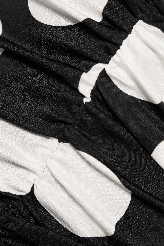 Dolce & Gabbana Gerafftes Midikleid aus Stretch-Seidensatin mit Polka-Dots