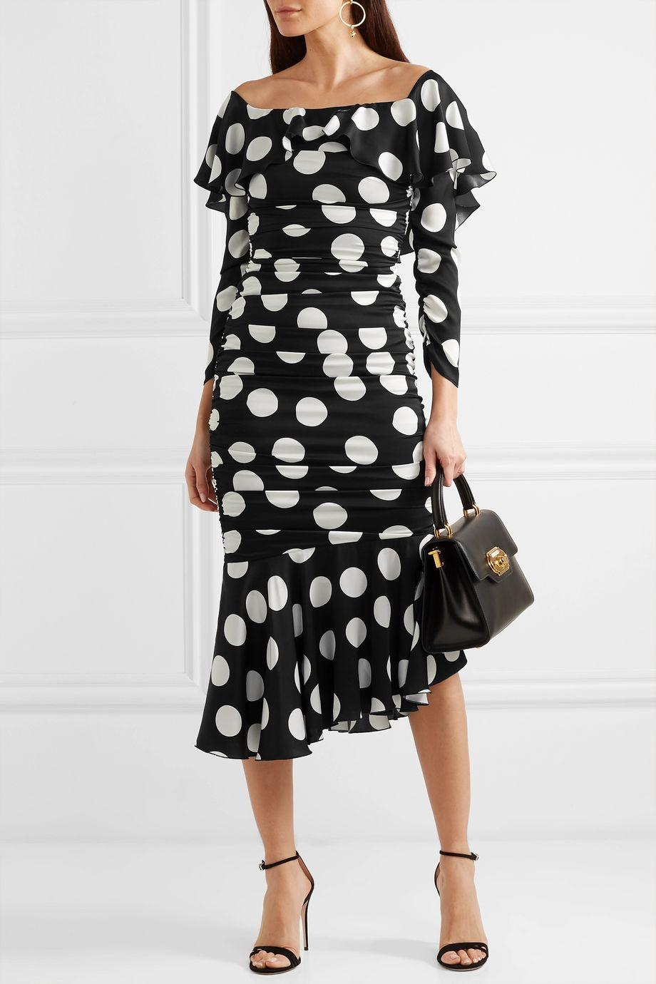 Dolce & Gabbana Ruched polka-dot stretch-silk satin midi dress