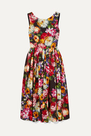 Dolce & Gabbana Pleated floral-print cotton dress