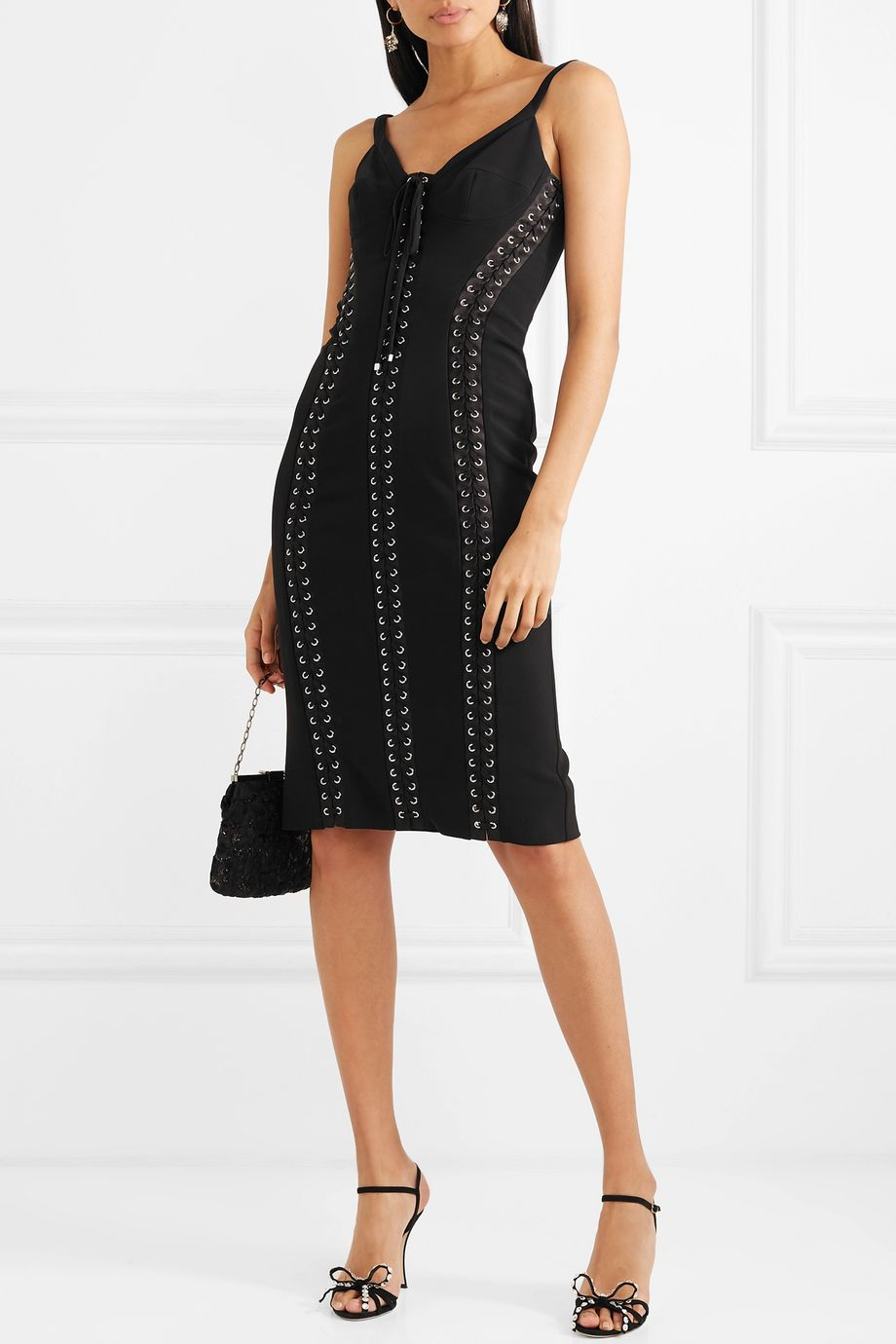 Dolce & Gabbana Lace-up satin-trimmed crepe midi dress