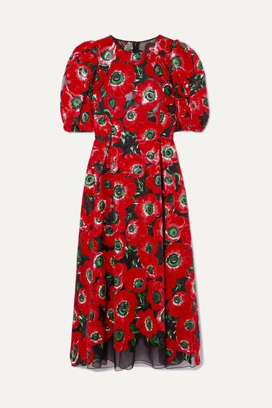 Floral-Print Flocked Georgette Midi Dress