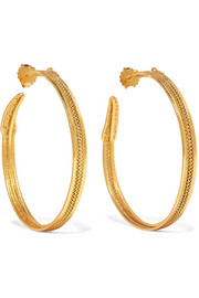 Jazmin gold-tone emerald hoop earrings