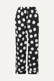 Polka-dot silk-blend satin wide-leg pants