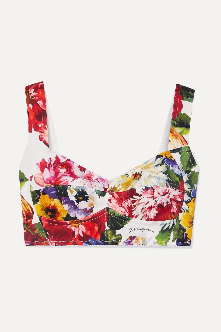 Dolce & Gabbana Floral-print cotton-blend twill bra top