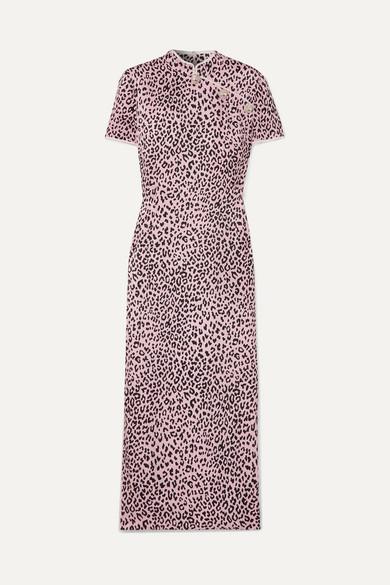 Alessandra Rich Crystal-Embellished Leopard-Print Silk-Jacquard Midi Dress In Lilac