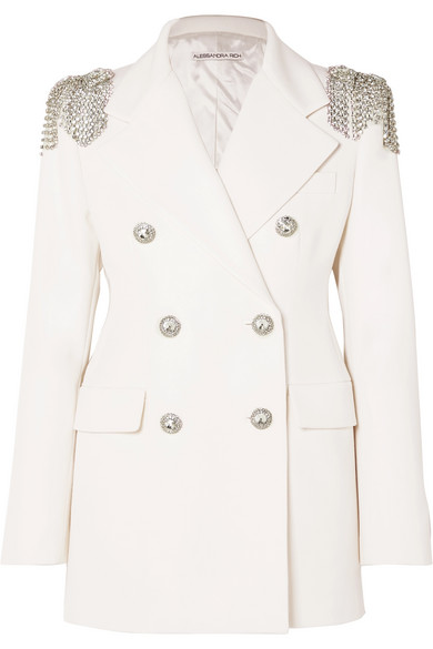 Crystal Embellished Wool Crepe Blazer by Alessandra Rich
