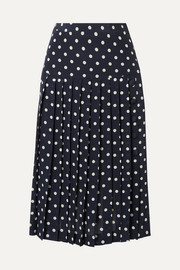 Pleated polka-dot silk-georgette midi skirt