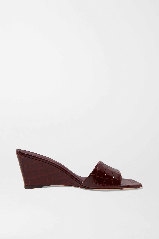 STAUD Billie croc-effect leather wedge sandals