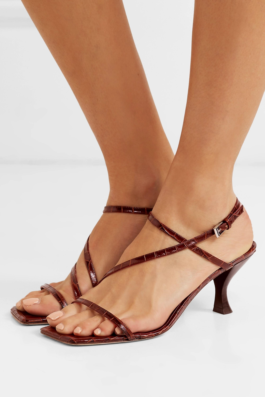 STAUD Gita croc-effect leather sandals