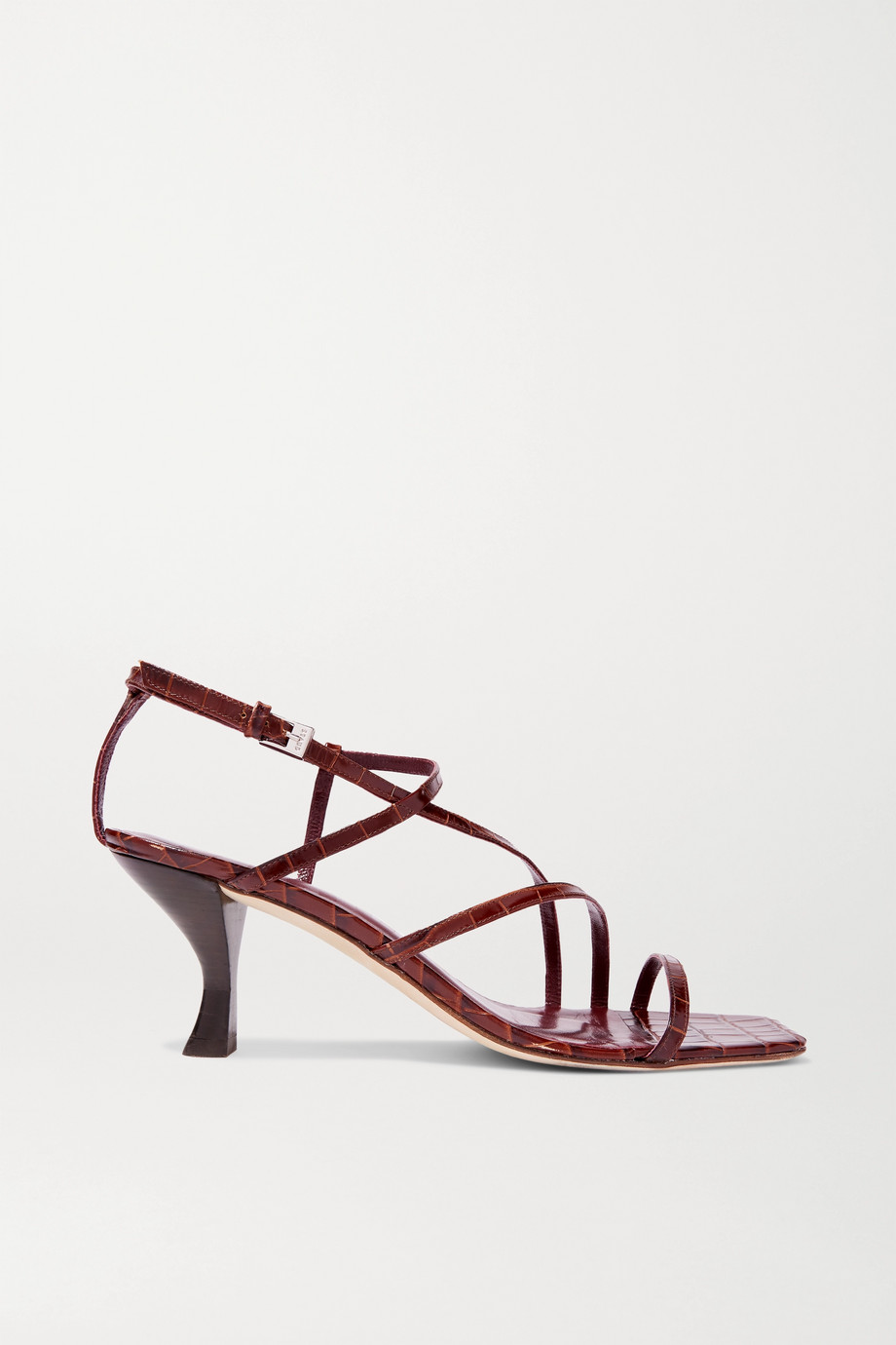 STAUD Gita croc-effect leather sandals