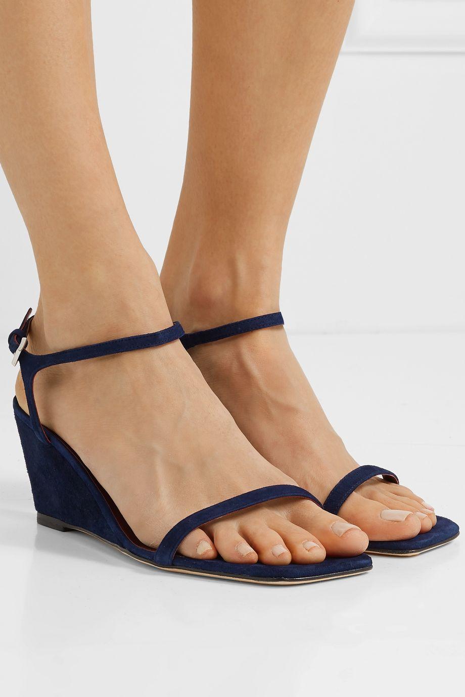 STAUD Astrid suede wedge sandals