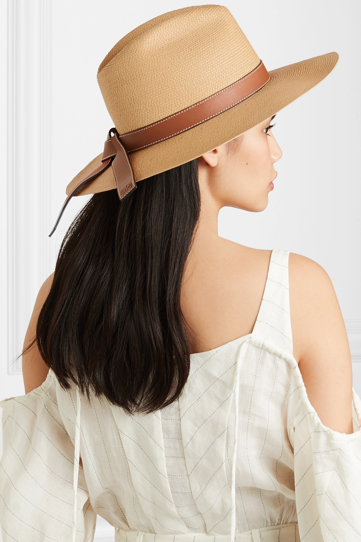 Loewe + Paula's Ibiza leather-trimmed straw hat