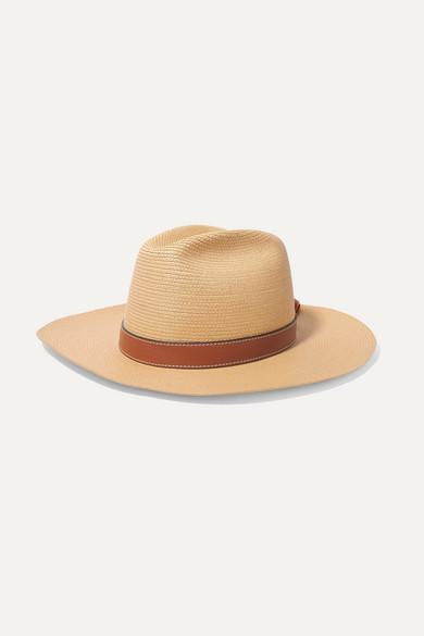 LOEWE | Loewe - + Paula'S Ibiza Leather-Trimmed Straw Hat - Beige | Goxip