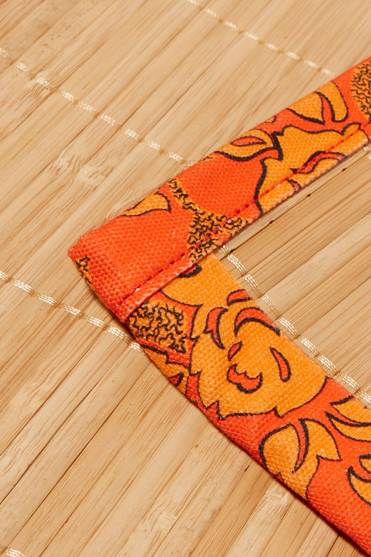 Loewe + Paula's Ibiza leather-trimmed bamboo and printed canvas beach mat