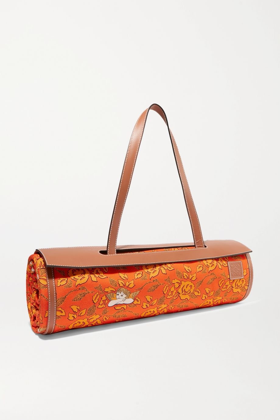 Loewe + Paula's Ibiza leather-trimmed bamboo and printed canvas beach mat