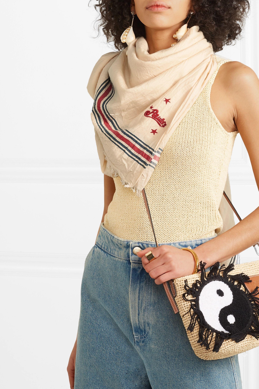 Loewe + Paula's Ibiza embroidered striped cotton-twill scarf