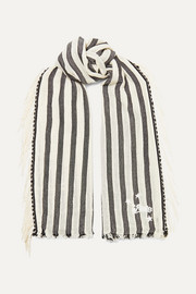 Loewe + Paula's Ibiza fringed striped cotton scarf