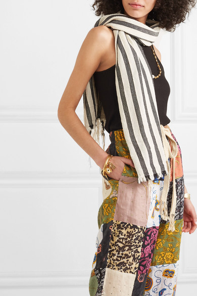 Loewe Accessories + Paula's Ibiza fringed striped cotton scarf
