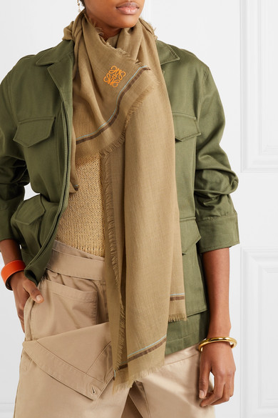 Loewe Accessories Embroidered cashmere and cotton-blend scarf