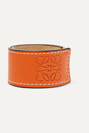 Logo-embossed leather bracelet