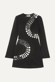 David Koma Embellished cutout crepe and mesh mini dress