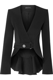 David Koma Ruffled satin-trimmed cady blazer