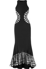 David Koma Embellished cutout cady gown