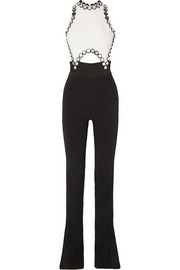 David Koma Cutout embellished satin-trimmed cady jumpsuit