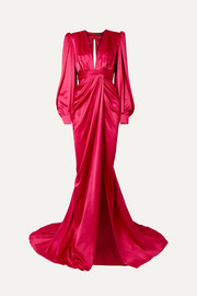 Angelica gathered silk-satin wrap-effect gown