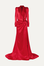 Tammy gathered silk-satin wrap gown