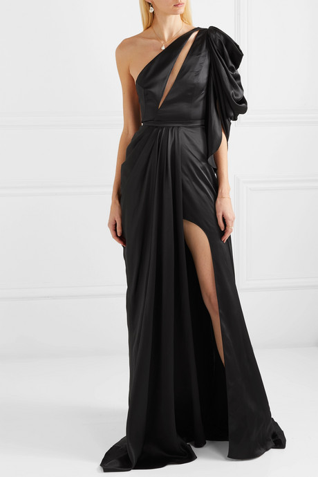 Evelyn one-shoulder silk-satin gown