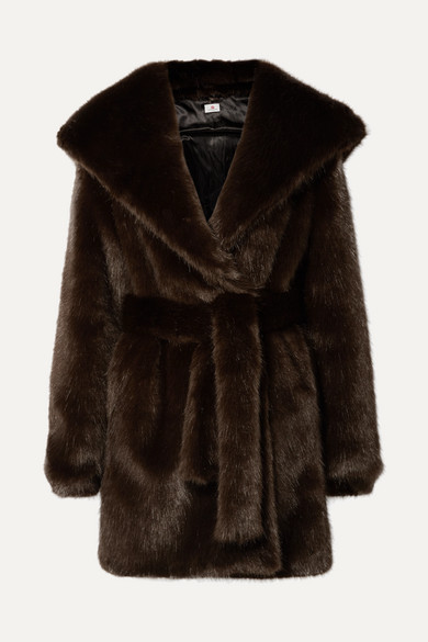 A PERDIFIATO Melody Hooded Faux Fur Coat in Dark Brown