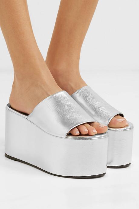 Blackout metallic textured-leather platform sandals