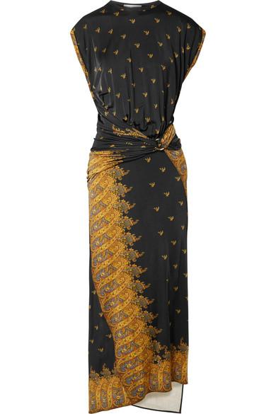 Gathered Printed Jersey Midi Dress by Paco Rabanne
