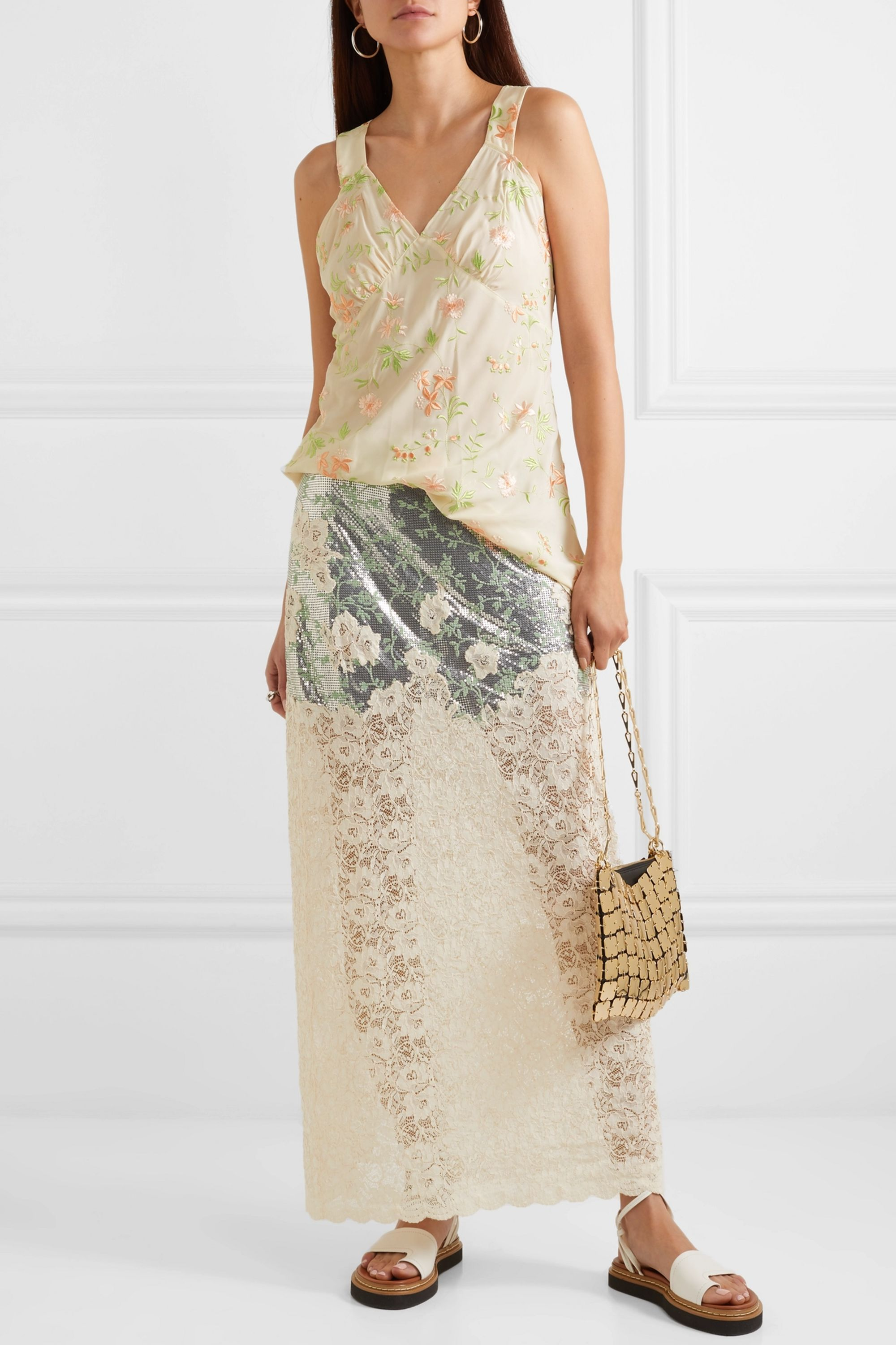 Paco Rabanne Embroidered crepe de chine top