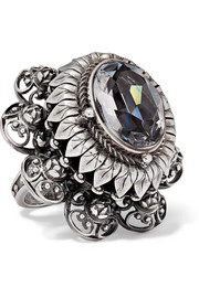 Silver-tone and crystal ring