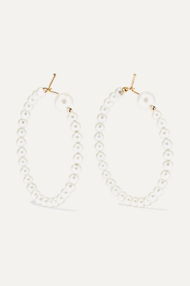715e65dc3fad7c Mizuki   14-karat gold pearl hoop earrings   NET-A-PORTER.COM