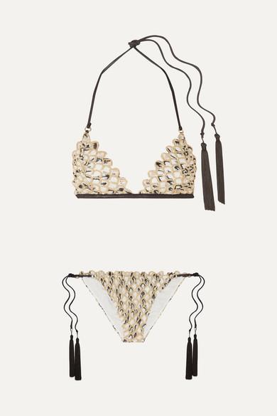 Missoni Beachwear Mare tasseled metallic crochet-knit triangle bikini