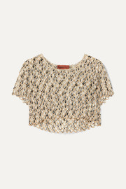 Missoni Cropped metallic crochet-knit top
