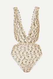 Missoni Cutout metallic crochet-knit swimsuit
