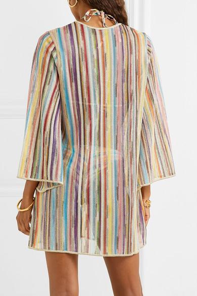 Missoni Beachwear Striped metallic crochet-knit kaftan