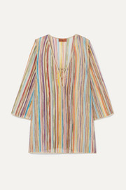 Missoni Striped metallic crochet-knit kaftan