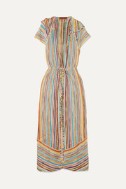 Missoni Striped metallic crochet-knit robe