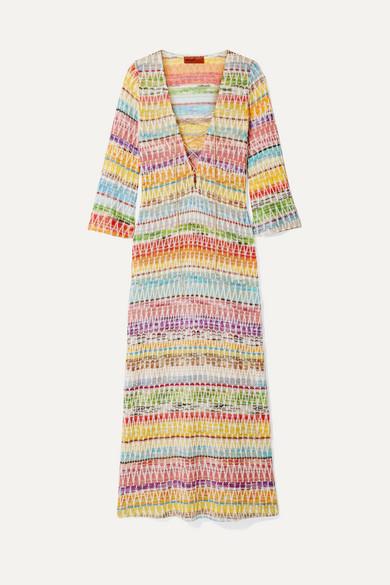 Missoni Beachwear Mare metallic crochet-knit cotton-blend kaftan