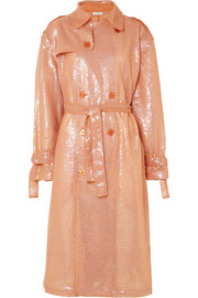 Sequined georgette trench coat
